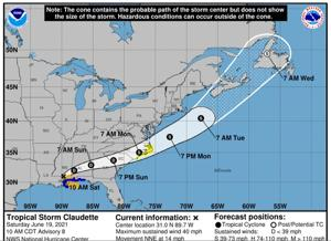 Tropical Storm Claudette is forecast to cause a wet Sunday in The T&D Region, according to the National Weather Service. ...