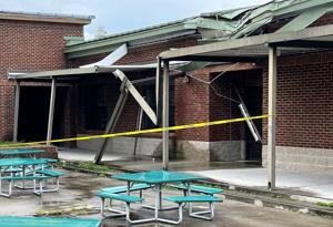 Some areas of Lake Marion High School and Technology Center remained off limits as students returned to school Monday. The school was damaged during a storm in June. ...